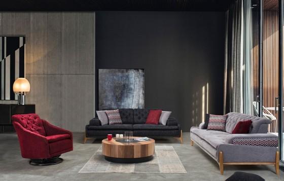 Granada Modernes Sofa Set Grau-Creme 3+3+1
