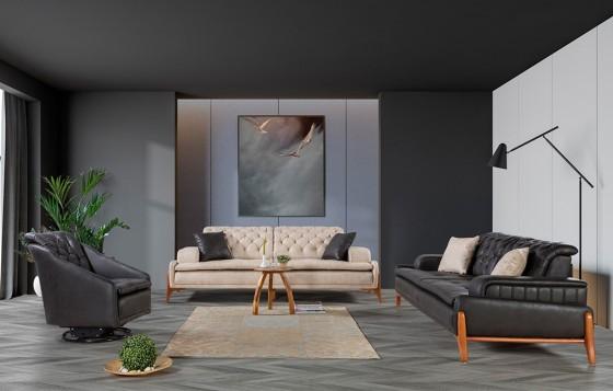 Granada Modernes Sofa Set Schwarz-Krem 3+3+1