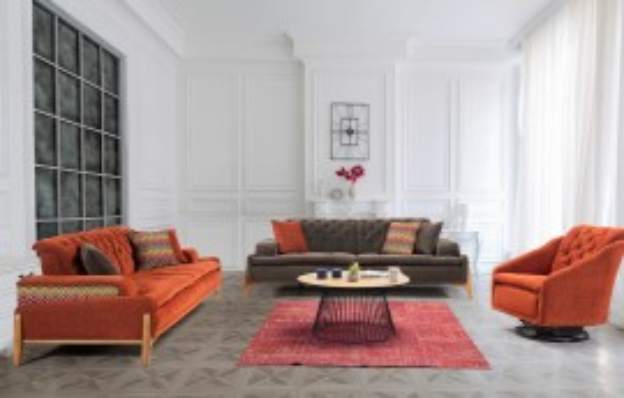 Granada Modernes Sofa Set Orange-Walnuss  3+3+1