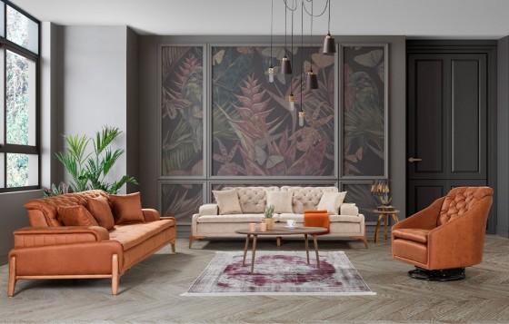 Granada Modernes Sofa Set Orange-Creme  3+3+1
