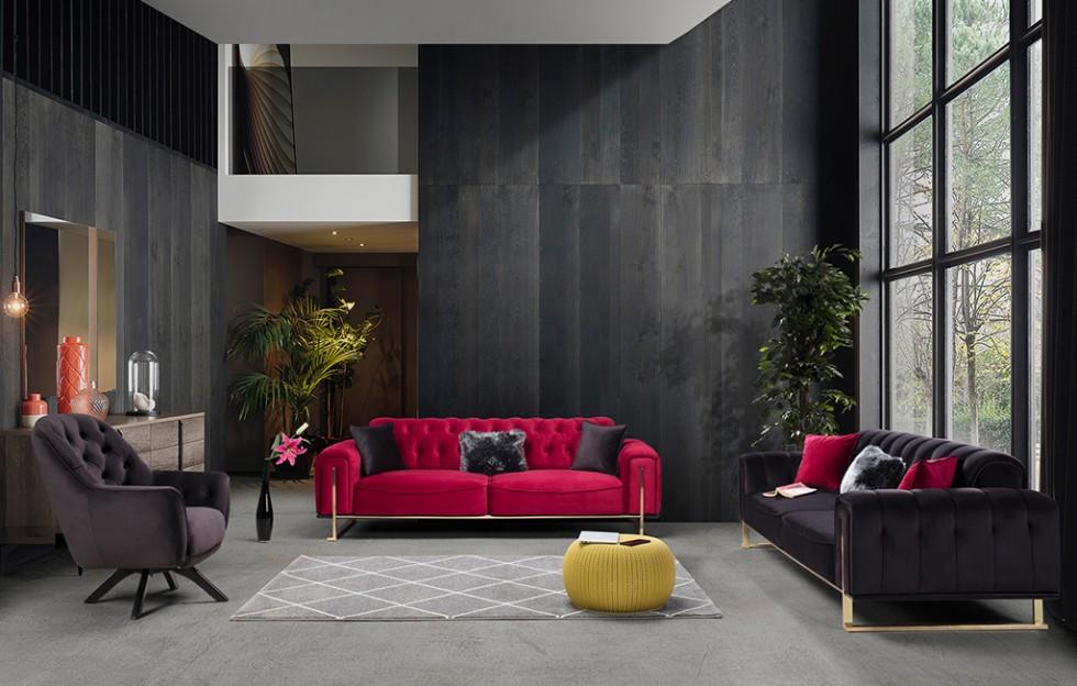Kiev Modernes Sofa Set Rot-Schwarz 3+3+1