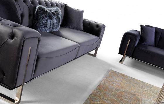 Kiev Modernes Sofa Set Grau-Schwarz 3+3+1