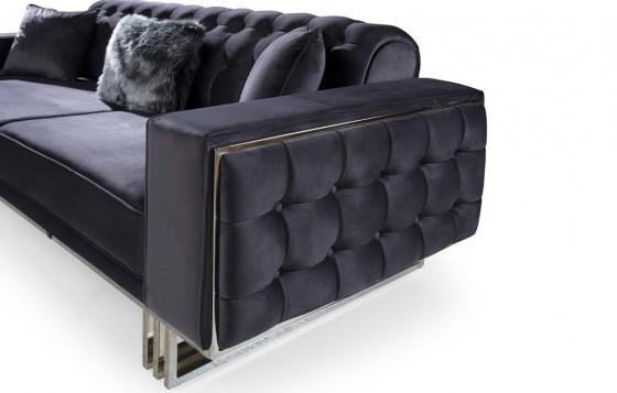 Madrid Modernes Sofa Set Grau-Creme 3+3+1
