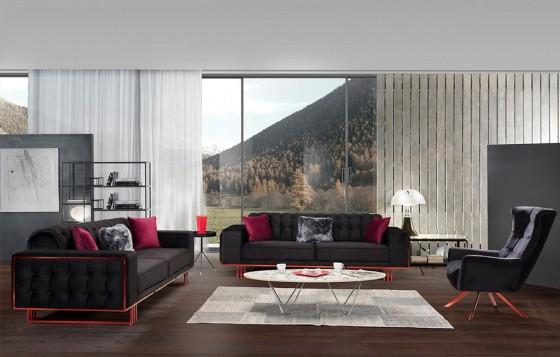 Madrid Modernes Sofa Set Rot-Schwarz 3+3+1
