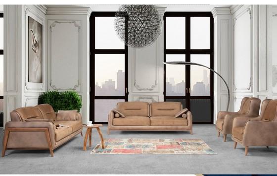 Stil Modernes Sofa Set Walnuss Farbe 3+3+1