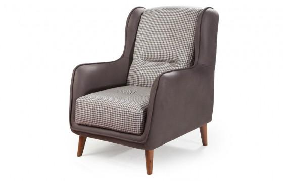 Stil Modernes Sofa Set Walnuss Farbe - Creme 3+3+1