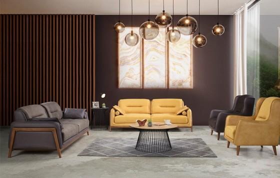 Stil Modernes Sofa Set Gelb 3+3+1