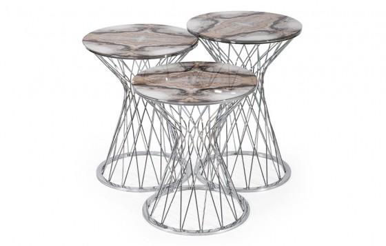 Sandra Beistelltisch - Silver Weiß