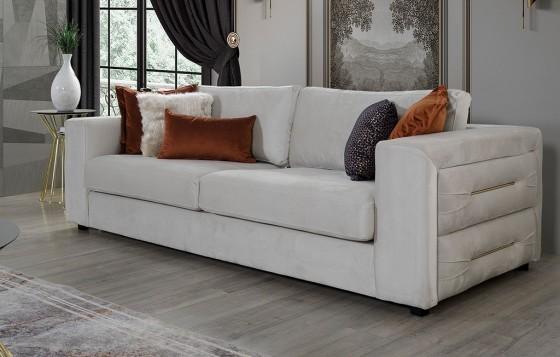 Amor Modernes Weiß - Orange  - 3-Sitzer