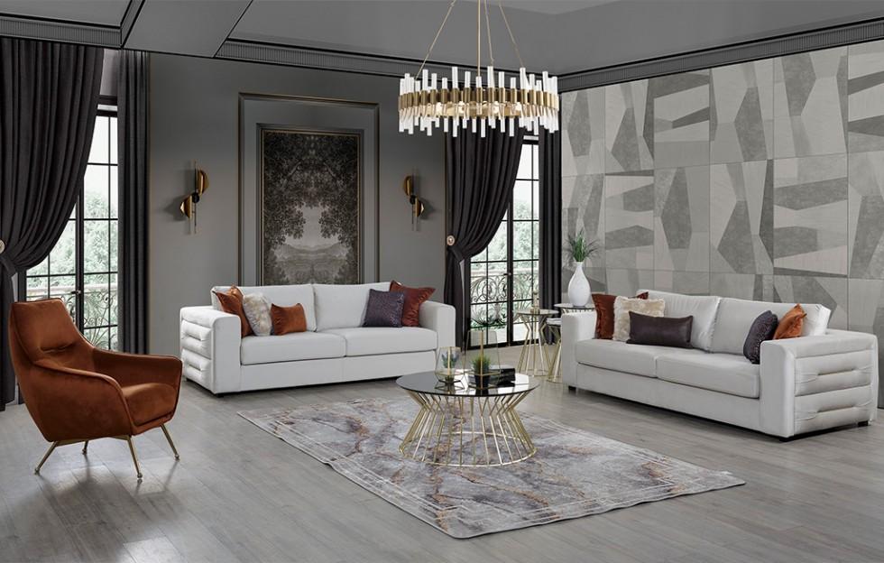 Amor Modernes Sofa Set Weiß - Orange 3+3+1