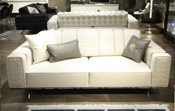 Lion Modernes Sofa Set Silver 3+3+1