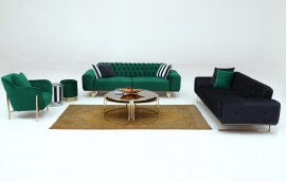 Oscar Modernes Sofa Set Grün - Grau 3+3+1