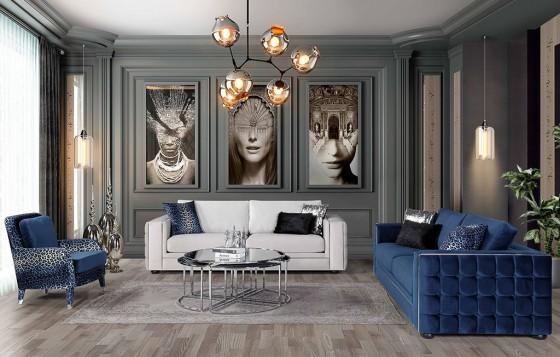 Nirvana Modernes Sofa Set Weiß - Blau 3+3+1