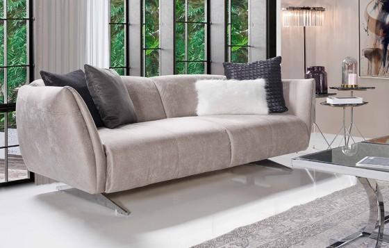 Milano Modernes Creme - Grau  - 3-Sitzer