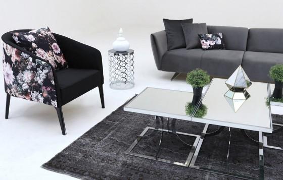Milano Modernes Creme - Schwarz  - Sessel