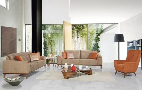 Nova Modernes Sofa Set Walnussfarbe 3+3+1