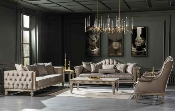 Istanbul Klassiche Sofa Set Weiß 3+3+1+1+Couchtisch