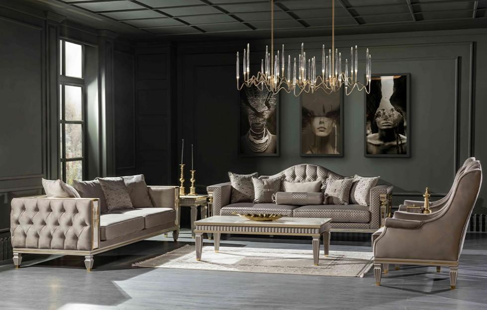 Istanbul Klassiche Sofa Set Creme 3+3+1