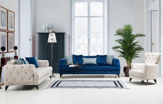 Oslo Chester Sofa Set Blau 3+3+1