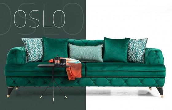 Oslo Chester Sofa Set Grün 3+3+1