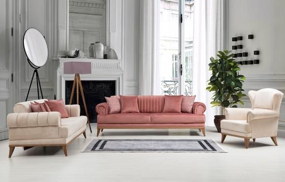 Hurrem Chester Sofa Set Pink 3+3+1