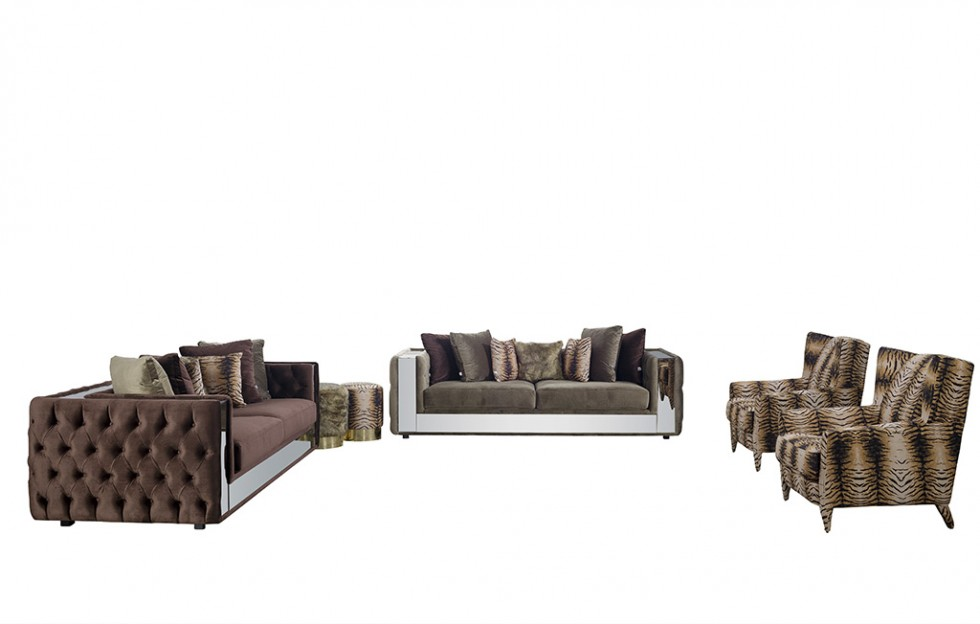 Karaca Chester Sofa Set Walnussfarbe 3+3+1